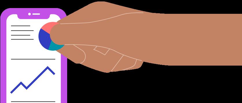 phone chart hand